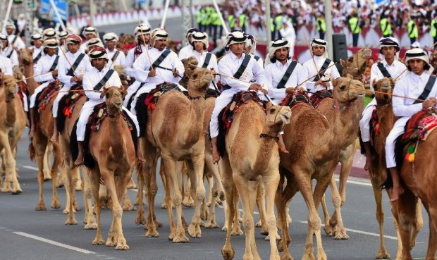 Qatari Soldiers on Camels, Doha
