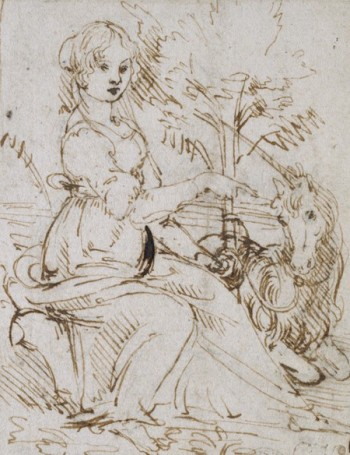 Leonardo, A maiden with a unicorn, Ashmolean, Oxford