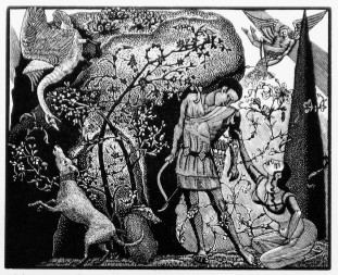Jane Lydbury, Venus and Adonis, limited edition woodcut ©Jane Lydbury