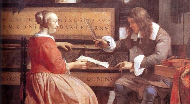 Metsu: A man and woman at a virginal