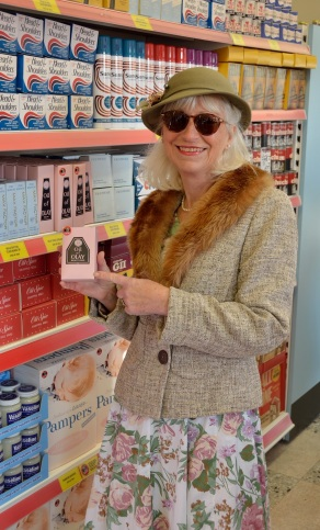Mum showing off the stock in the vintage Tesco