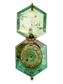 A pocket watch cut out of a single block of emerald