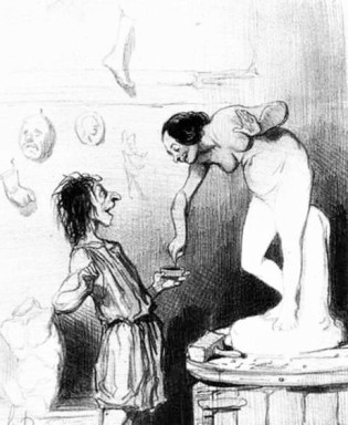 Honoré Daumier, Pygmalion and Galatea, lithograph