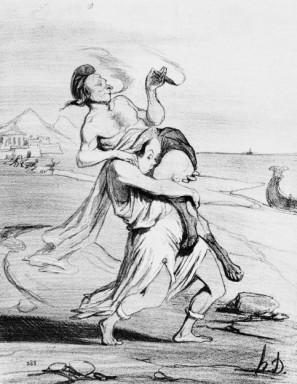 Honoré Daumier, The Rape of Helen, lithograph