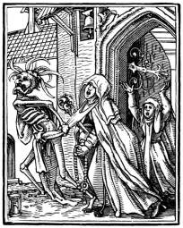 Hans Holbein the Younger, The Dance of Death: The Abbess, woodcut