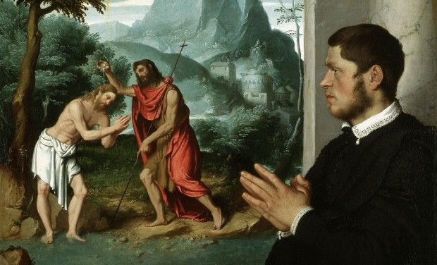 Moroni: Portrait of a gentleman with the Baptism of Christ