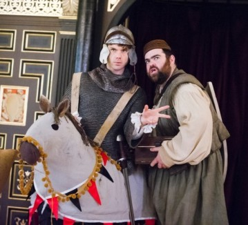 """Come, my loyal dwarf: with you and my noble steed, I can accomplish anything!"" Rafe ((Matthew Needham) and George (Dean Nolan) with Rafe's horse"