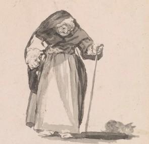Francisco José de Goya y Lucientes, Habla con su gato (She speaks to her cat) (detail)