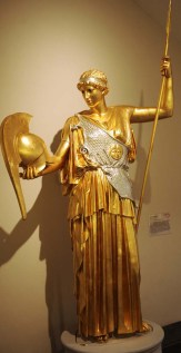 A reconstruction of a statue of Athena with the original gilding