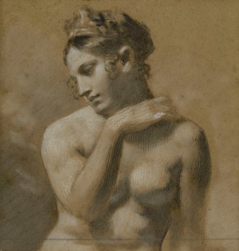 Pierre-Paul Prud'hon, A seated female nude, Musée Baron Martin, France (detail)