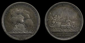 A Dutch medal parodying Louis's defeat at the Battle of La Hogue: his flagship explodes (obverse) while Louis escapes in a frog-drawn sea-chariot (background on reverse)