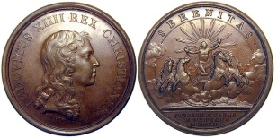 Medal from 1653 to celebrate the end of the Fronde with Louis (observe) and allegory of Serenity (reverse)