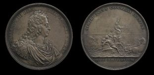 A British medal parodying Louis's defeat at the Battle of La Hogue: he is thrashed by Neptune (reverse)