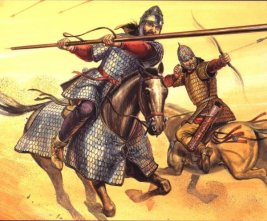 A Sarmatian warrior charging with a lance