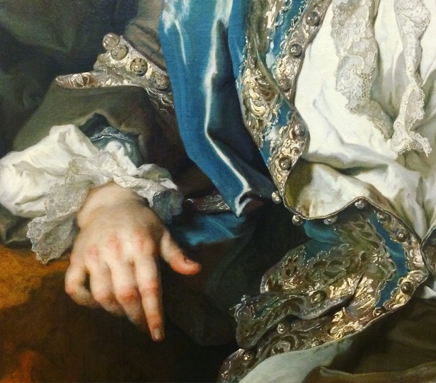 Nicolas de Largillière (1656-1746), Portrait of a young man in hunting costume, c.1730, oil on canvas, Kunsthalle, Karlsruhe (detail)