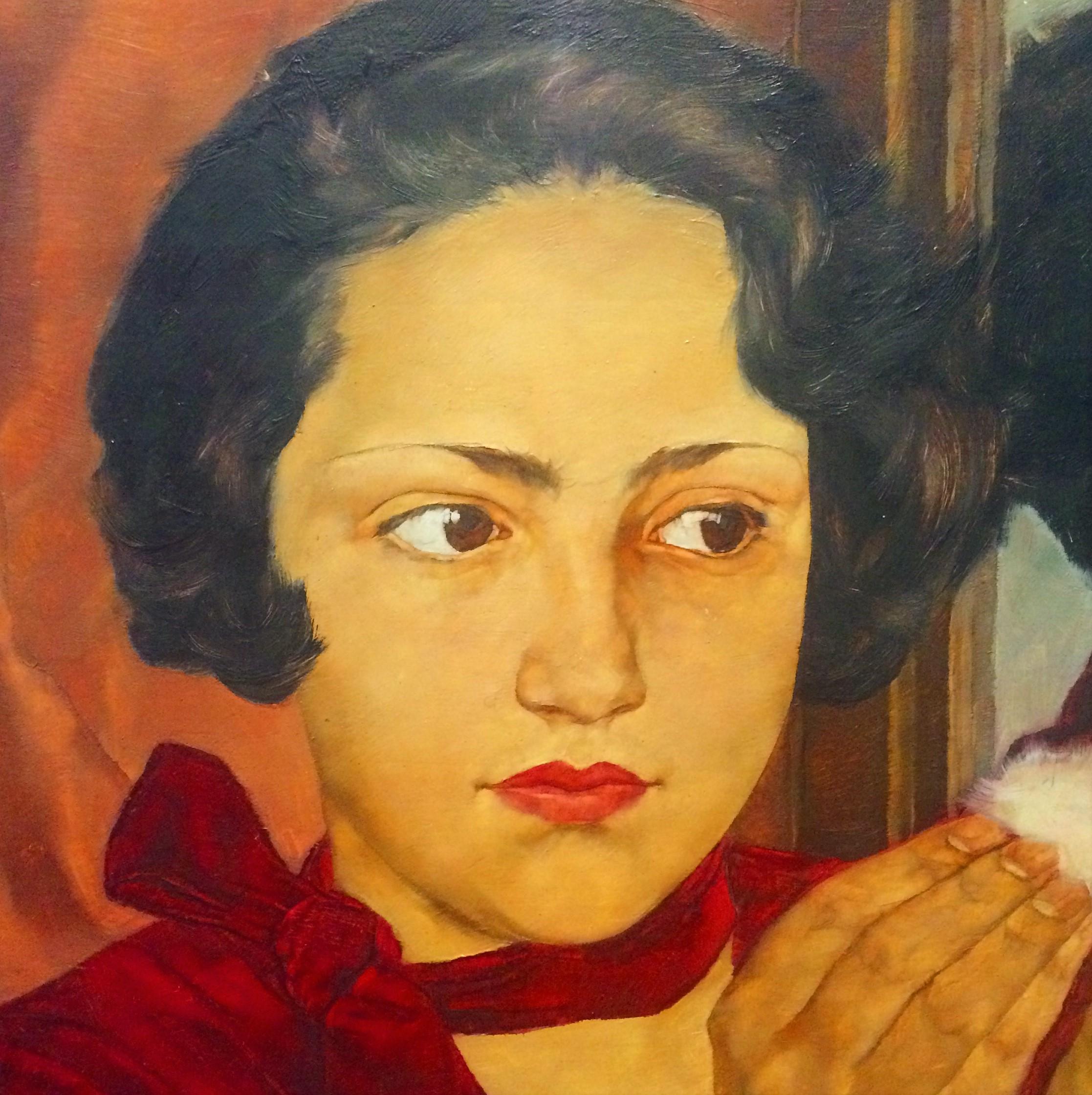 Картинки по запросу Lotte Laserstein 1928, Russian Girl with Compact,