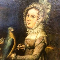 German School, Portrait of two women with a parrot, c.1830, oil on canvas, Martin von Wagner Museum, Würzburg (detail)