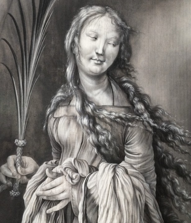 Matthias Grünewald, A Sainted Martyr (St Lucy?), 1511-1512, grisaille, Kunsthalle, Karlsruhe (detail)