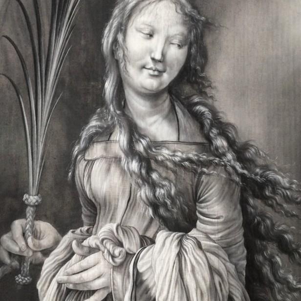 Matthias Grünewald, A Sainted Martyr (St Lucy?), 1511-1512, grisaille, Kunsthalle, Karlsruhe (detail)