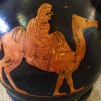 The Master of the Würzburg Camel, Ancient Greek red figure vase with a Persian on a Bactrian camel, c. 440 BC, Martin von Wagner Museum, Würzburg (detail)