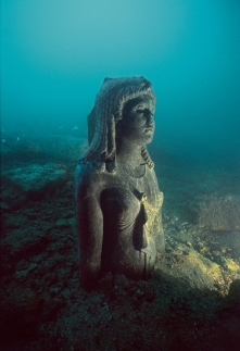 The Dark Queen (probably a statue of Cleopatra III) 2nd century BC, shown in situ in her findspot at Thonis-Heracleion