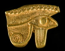 A tiny amulet to bring good luck, showing the half-human half-falcon Eye of Horus. Found at Thonis-Heracleion, now in the Graeco-Roman Museum, Alexandria