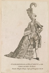 English School, Satirical portrait of the Chevalier d'Eon ('Mademoiselle de Beaumont, or the Chevalier d'Eon, Female Minister Plenipo[tentiary], Capt of Dragoons, &c. &c.), engraving, 1777, National Portrait Gallery, London