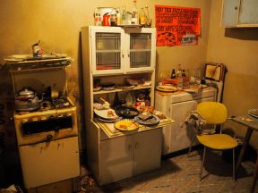 The kitchen in the reconstructed Edith Grove flat