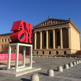 Philadephia Museum of Art with Robert Indiana's Amor mounted outside