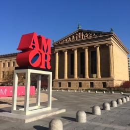 Philadephia Museum of Art with Robert Indiana's Amor mounted outside