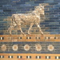 One of the original areas of tiling showing the Bull of Adad, Pergamonmuseum, Berlin