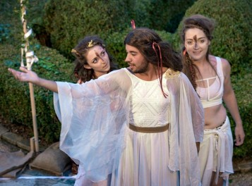 Pentheus (Colin Kiyani) in women's clothes