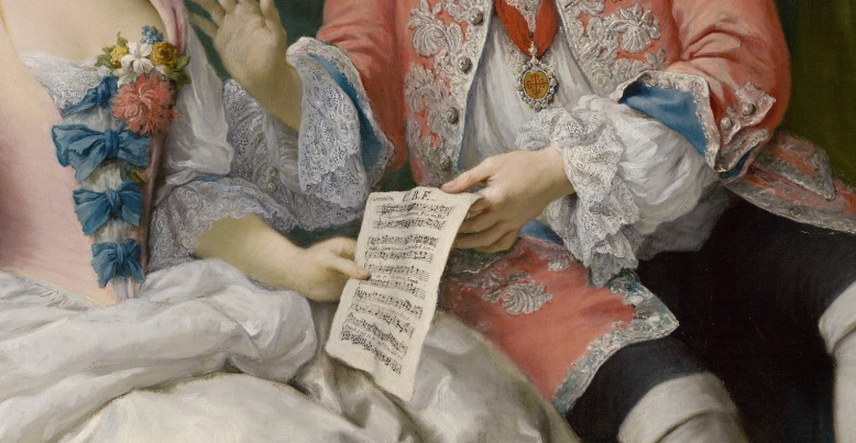 Jacopo Amigoni, Portrait of Farinelli and his Friends (detail)