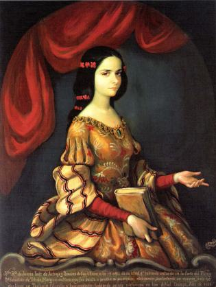 J. Sanchez, Portrait of Juana Inés de la Cruz at the age of 15 before taking the veil