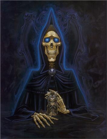 Death. With kitten. © Paul Kidby