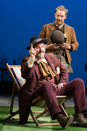 Don Armado (John Hodgkinson) and Costard (Nick Haverson)