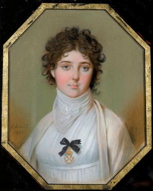 Johann Heinrich Schmidt, Emma Hamilton, 1800, National Maritime Museum. She wears the Order of the Knights of Malta, presented to her for her humanitarian aid to the Maltese in 1799. This picture hung in Nelson's cabin in the Victory at Trafalgar.