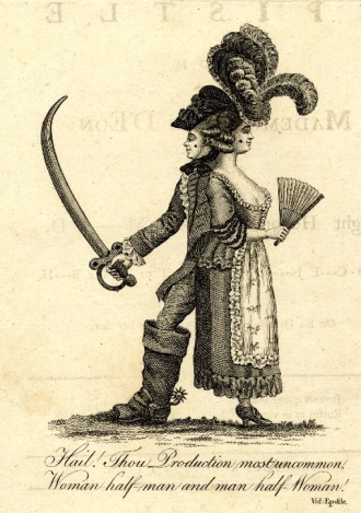 "Satirical print on the Chevalier d'Eon, ""Hail! Thou Production most uncommon..."", 1778"