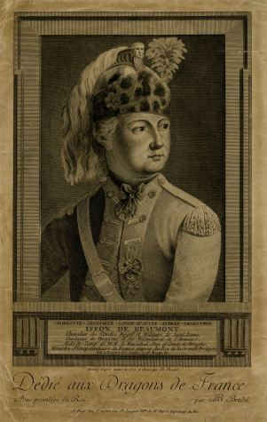 Jean-Baptiste Bradel, Portrait of the Chevalier d'Eon in Dragoon's uniform, 1779