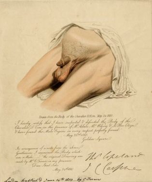 Print after Charles Turner, made from the Chevalier d'Eon's body shortly after his death. Published 14 June 1810.