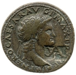 Coin of Nero with Vespasian's countermark [VA], Lydia, British Museum, London © The Trustees of the British Museum