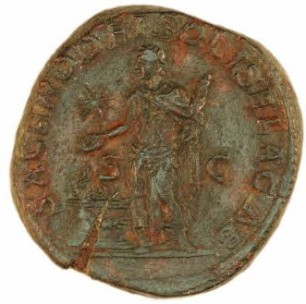 Coin of Elagabalus, showing him as high priest of Elagabal, brass sestertius, British Museum, London © The Trustees of the British Museum