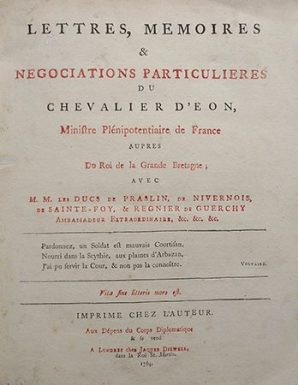 Title page of the Lettres, Memoires et Negociations of the Chevalier d'Eon, published in London, 1764