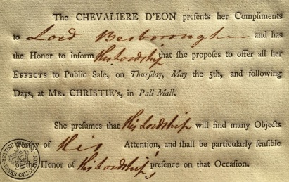 Visiting card of the Chevalier d'Eon, notifying her friends that her library is to be sold. 1791.