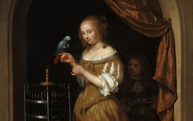 Netscher: Lady with a Parrot
