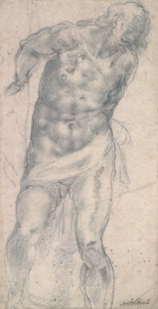 Michelangelo, Study for the Flagellation, 1516, black chalk and stumping over stylus underdrawing, British Museum, London © The Trustees of the British Museum
