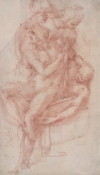 Michelangelo, Study for Lazarus raised from the dead, 1516, red chalk, British Museum, London © The Trustees of the British Museum