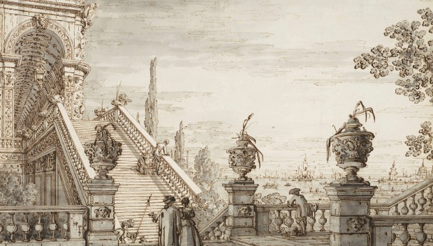Canaletto: Capriccio with Monumental Staircase