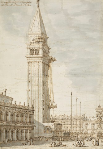 Canaletto, The Campanile under repair, 1745, Royal Collection