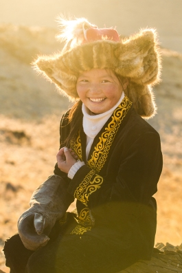 Aisholpan aged 13 at home in Mongolia